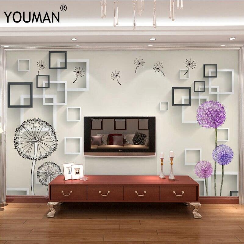Fonds d'écran YOUMAN usine 3D fleur personnalisé Photo murale papier peint moderne Style minimaliste pissenlit TV mur pour salon