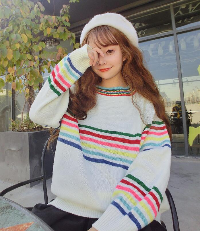 Winter new Korean version of the small fresh stripes loose long sleeved sweater
