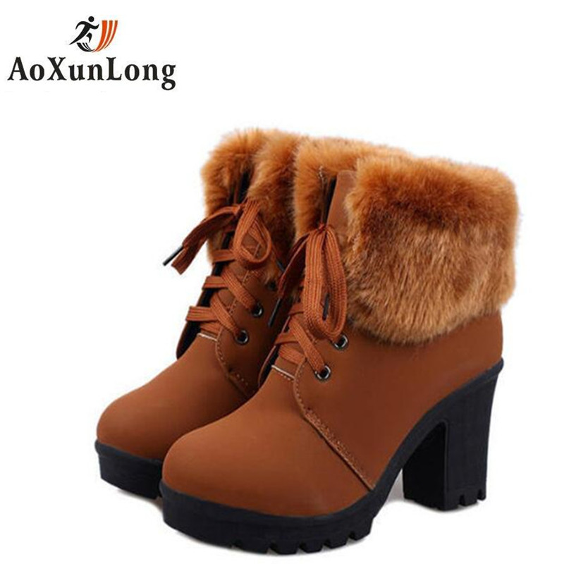 Artificial Fur Ankle Women's Boots Fashion Ladies Lace-Up Warm Boots For Winter High Heels Platform Shoes Woman Boots 2 Color 39 2016 new winter ankle high heels nubuck leather women boots with fur fashion platform lace up martin boots for shoes woman