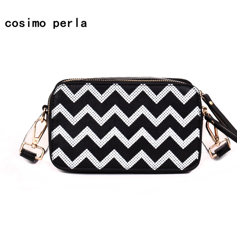 Wide Strap Shoulder Bag Leather Fashion Wave Pattern Crossbody Bags for Women Black White Ripple Small Flap Messenger Purse 2018 solid black women wide strap competition