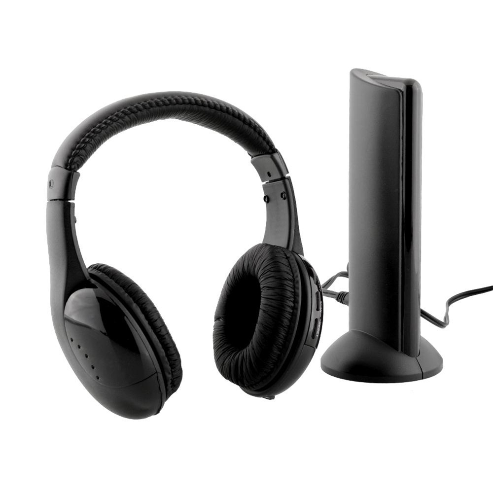 Professional Black 5 in 1 Wireless Headphone Headset for PC TV Radio Surround Sound Gaming Earphone FM Transmitter Gift leory 5 in 1 multifunctions wireless headphone fm radio headset hifi monitor dj mic for pc tv dvd audio mobile voice chating