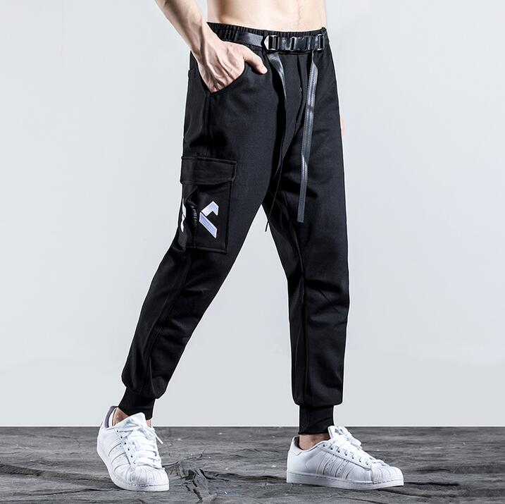 Black personality fashion mens slim pants casual harem pant men feet trousers pantalones hombre cargo pantalon homme autumn