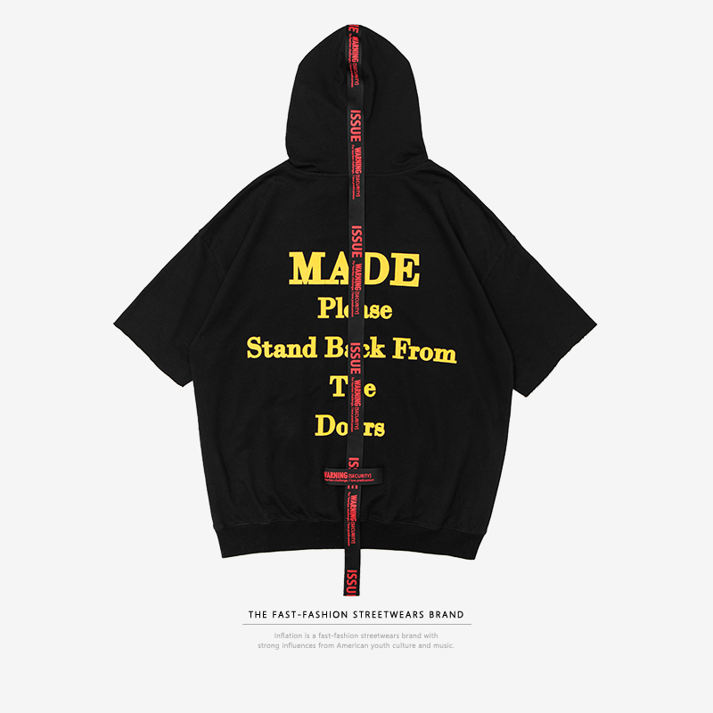 INFLATION 2018 New Style Oversized Men Short Sleeve Hoodie T-shirt Stretwear Style Hoody T-shirts For Male Fashion Tee 8182S