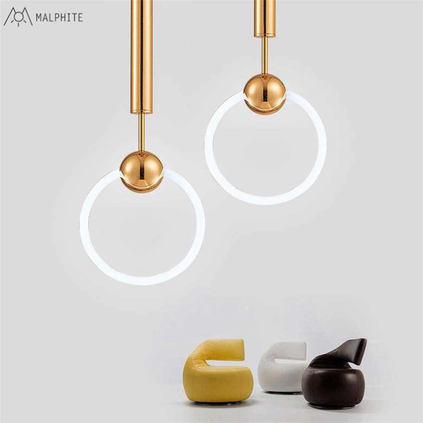 One-head chandelier Light luxury simple restaurant circle lamp post-modern living room bar personalized decorative Lamps