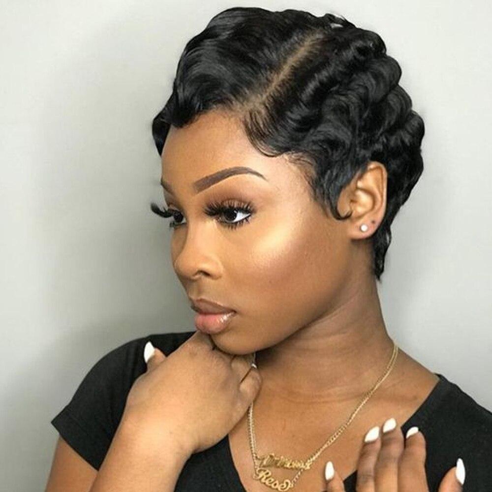 Ms Love Short Lace Human Hair Wigs For Women Brazilian Ocean Wave Remy Human Hair No