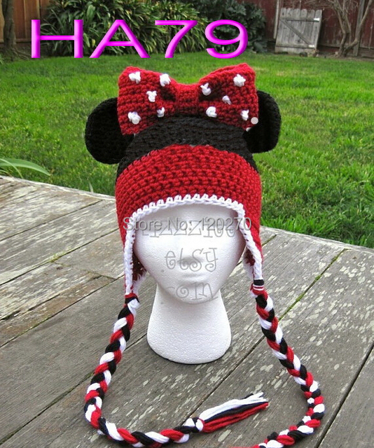 Free Shipping Baby Girls Crochet Knitted Minnie Mouse Bow Hat Infant