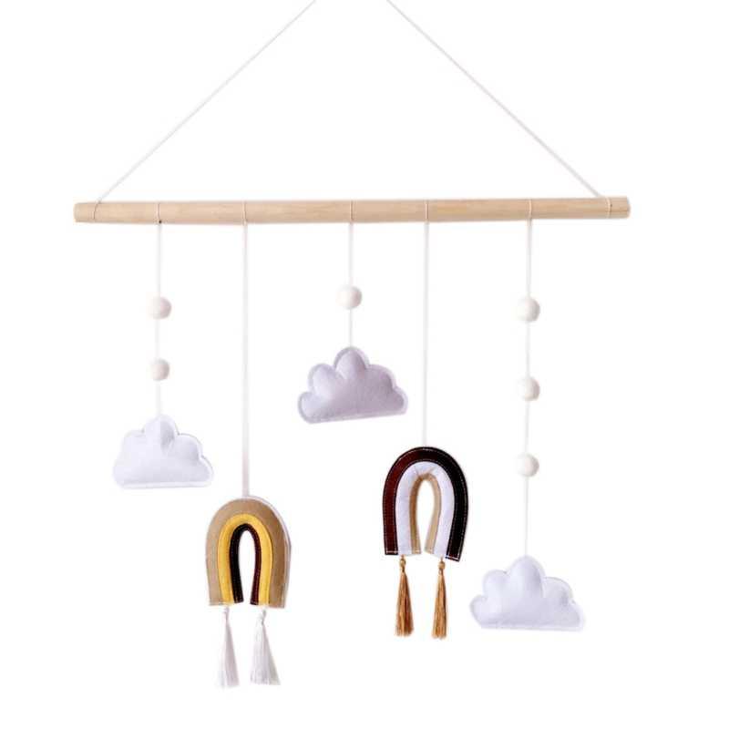 Nordic styl czuł wiszące dekoracje z kije drewniane ozdoby do domu Rainbow ręcznie tkane akcesoria Ornament dla dzieci pokój