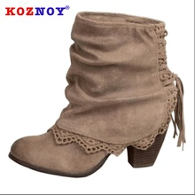 Koznoy Women Boots Spring High Heeled Dropshipping Thick Lace Burnt Fashion Breathable Fringe Flanged Tassel