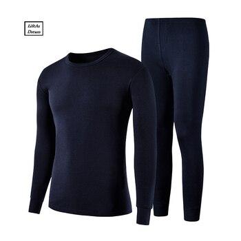 M-XXXL Winter Warm Men Long Johns100% cotton Men undershirt solid Long Johns long sleeve underwear shirts Plus Size Long Johns