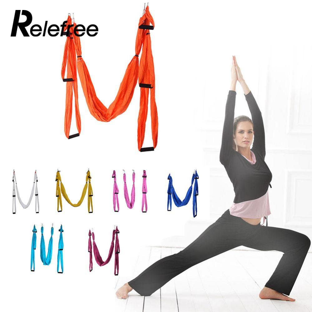 Relefree High Strength Decompression Hammock Inversion Trapeze Anti-Gravity Aerial Traction Yoga Gym Hanging With 6 Color leisure decompression hammock inversion trapeze anti gravity aerial traction yoga gym swing hanging daisy chain carabiners