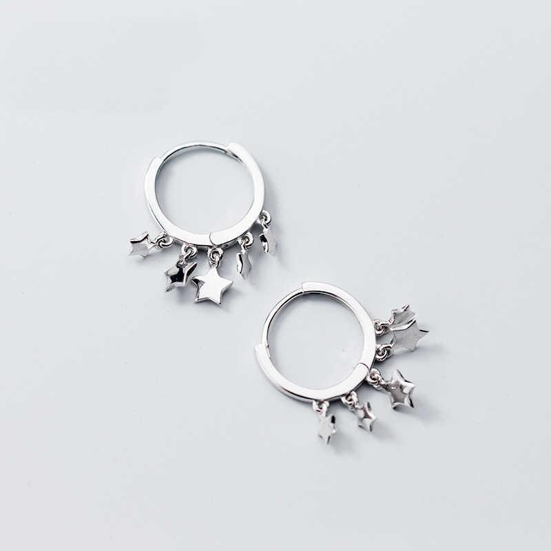 Милые Висячие круглые серьги с полированными звездами из стерлингового серебра