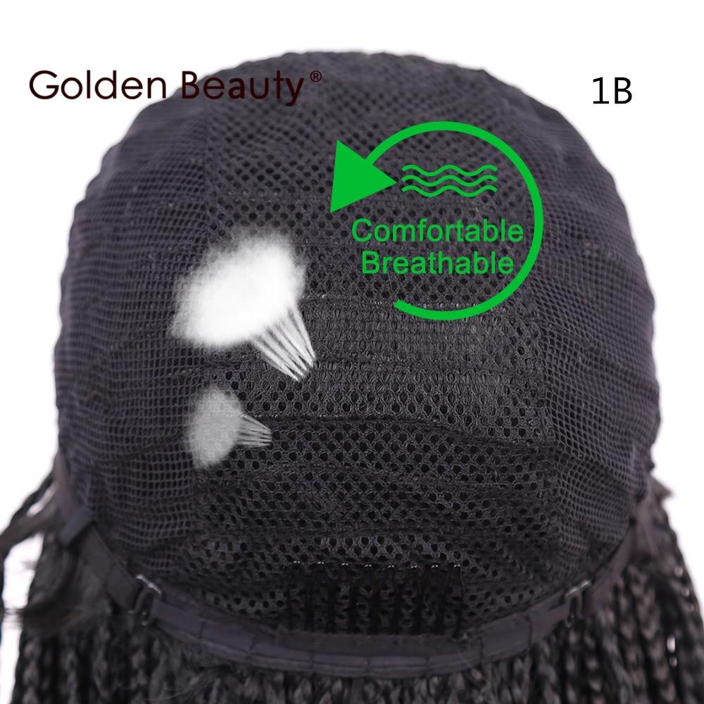 Golden Beauty 22inch Box Braid Wig Lång Svart Syntetisk Hår Paryk - Syntetiskt hår - Foto 5