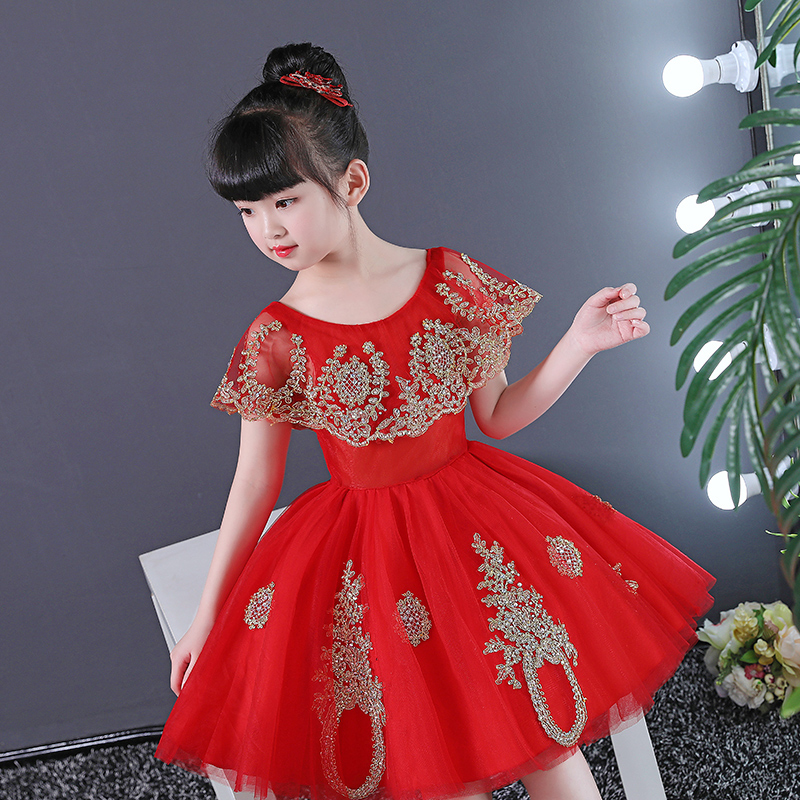 Red Flower Girl Dresses for Wedding Gold Appliques Ball Gown Kids Pageant  Dress for Birthday Costume. sku  32882628518 310ba02642f2