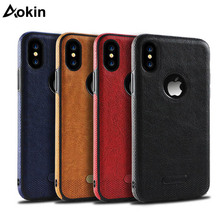 Aokin Luxury Business Leather Stitching Case For iPhone X 6 6s 7 8 Plus Ultra Thin Soft TPU Cover For iPhone 8 7 6 6s Plus XR XS xincuco ultra thin leather protective case for iphone 6s plus 6 plus simple business style dark blue