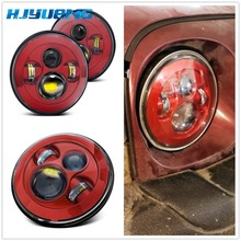7 Inch Round H4 DRL LED Headlight For Jeep Wrangler JK Red Headlights Lada Niva 4x4 Hummer H1 H2 Land Rover Defender