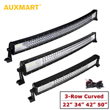 AUXMART Triple Row 22″ 34″ 42″ 50″ Curved LED Light Bar offroad Combo 3-Row Work Light Bar for Truck PickUp 4X4 4WD SUV 12v 24v