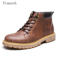 Fashion New Winter Mens Ankle Motorcycle Boots Casual Vintage Shoes Lace Up men0057
