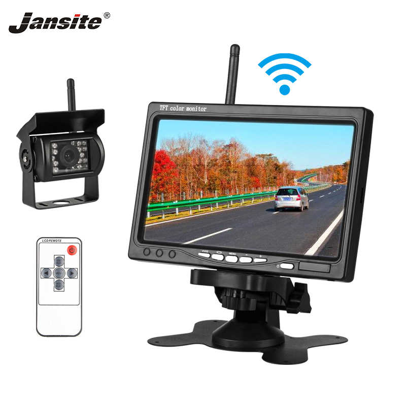 "Jansite 7 ""Wireless Monitor Dell'automobile TFT LCD Monitor di Rearview Dell'automobile di Parcheggio di Rearview Sistema di Telecomando 12-24 V bus di Lavoro Auto"