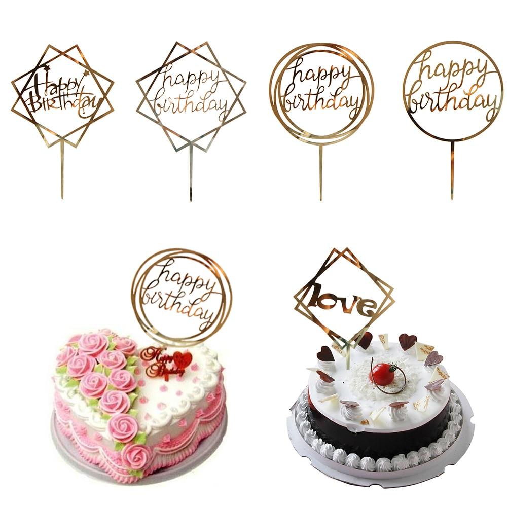 Acrylic Happy Birthday Cake Topper Love Wedding Party Insert Card Decoration