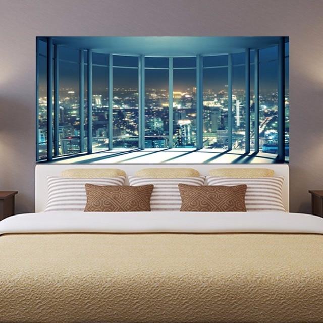 2 Teile/satz 3D Fensterbank Stadt Nachtansicht Nachtwandleuchte Aufkleber  Für Schlafzimmer Dekoration 90*