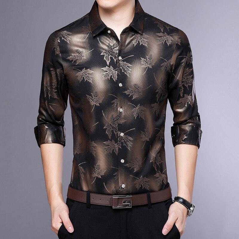 MIACAWOR Original Men Shirt Fashion Print Dress Shirt Slim Fit Camisa Masculina Full Sleeve Casual Men Shirt C413 3