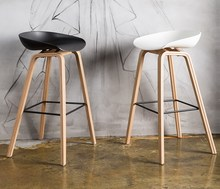 Minimalist Modern Design solid wood pp plastic bar chair northern wind fashion creative denmark counter stool Popular Furniture(China)