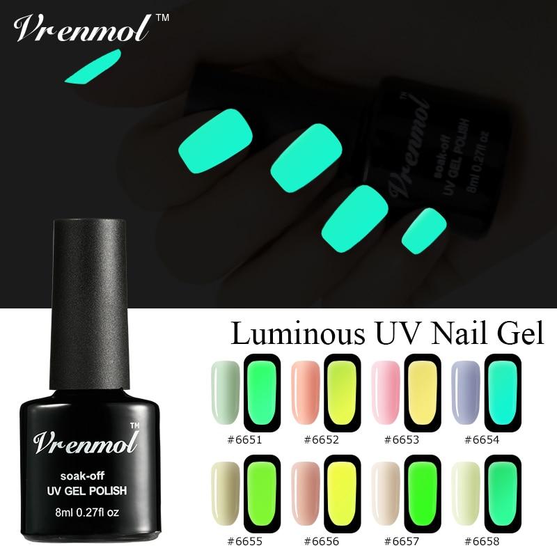 Vrenmol 1vnt. Neon fluorescencinis šviesusis nagų gelis, lenktas nuo UV gelio naktį šviečiantis tamsus blizgus lakas, pusiau nuolatinis lakas