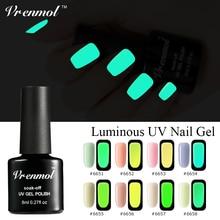 Vrenmol 1pcs Neon Fluorescent Luminous Nail Gel Polish Soak Off UV Gel Night Glow In Dark Gloss Lacquer Semic Permanent Varnish