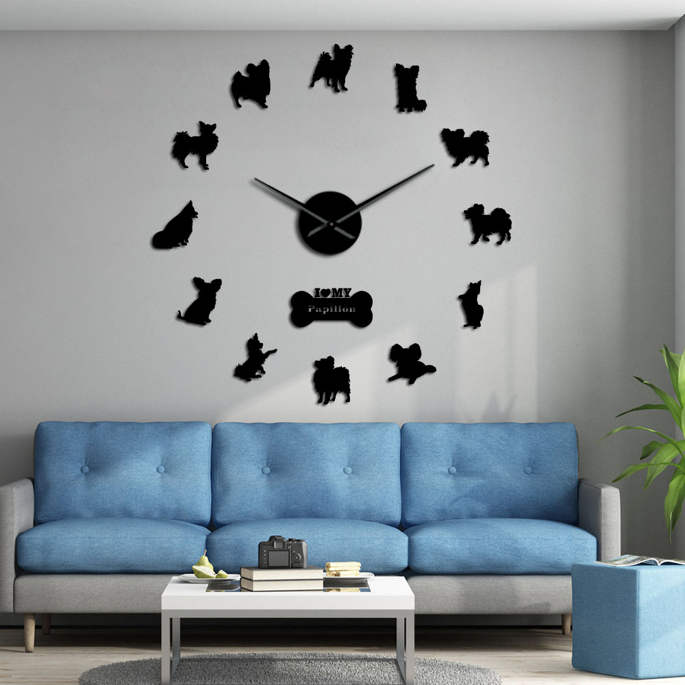 Continental Toy Spaniel Papillon Dog Wall Sticker Frameless Wall Watch Large Modern Wall Clock Housewarming Gift For Dog Owners