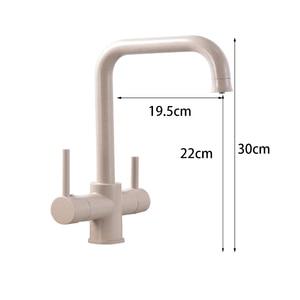 Image 4 - Grifo de cocina con filtro de agua, grifos de doble curva de ángulo recto, grifo de agua potable hecho en latón