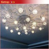 Современная мода привело Crystal Потолочные светильники Европейский Nordic круг потолочный светильник для Гостиная Спальня цветок Освещение све...