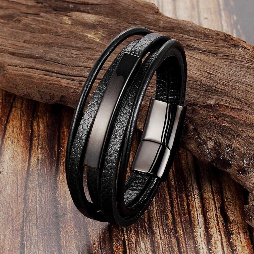 Trendy Men Jewelry Popular Black Color Genuine Leather Bracelet Multi-layer Design Charm Cuff Bangle For Handsome Boy Gift