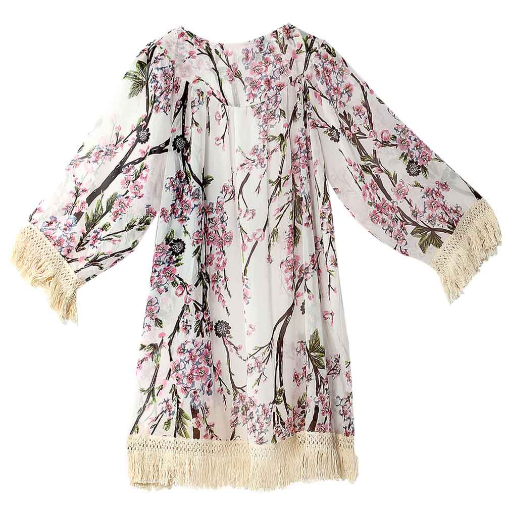 2017 Womens Half Sleeve Printed Kimono Cardigan Fringed Hem Shawl Chiffon Coat Jacket Blouse Beach Bikini Cover Sunscreen Cloth