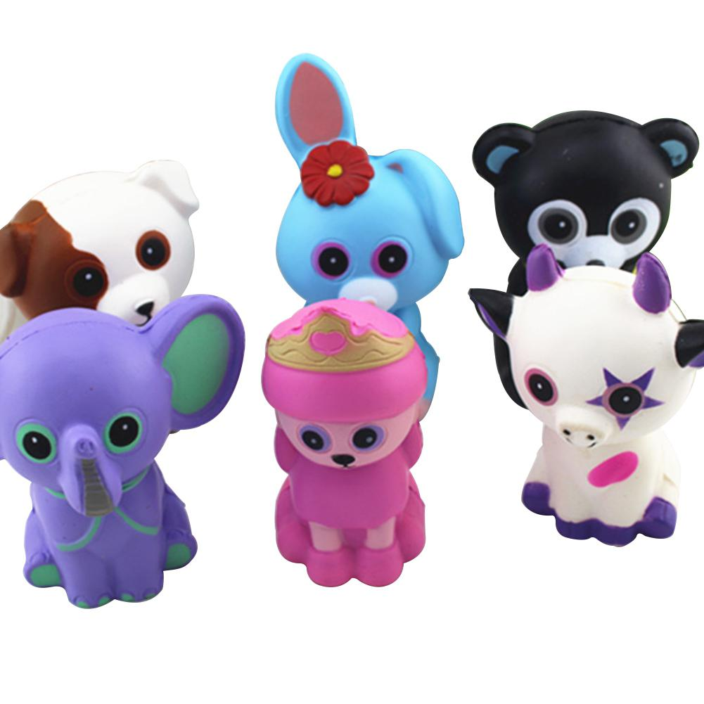 6Pcs/Set Simulate PU Cartoon Animal Slow Rising Squishy Squeeze Toy Stress Reliever Toy Gift