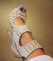 Summer Brand Women Gray Spikes Rivets Cuts Out Zipper Side Stiletto Heel Peep Toe Party Short Sandals Boots Ankle Booties Shoes