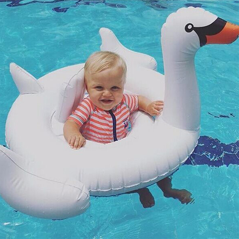 Inflatable white and Pink Flamingo swan baby swimming seat ring pool float chair circle Air Mattress water toys for kids beach