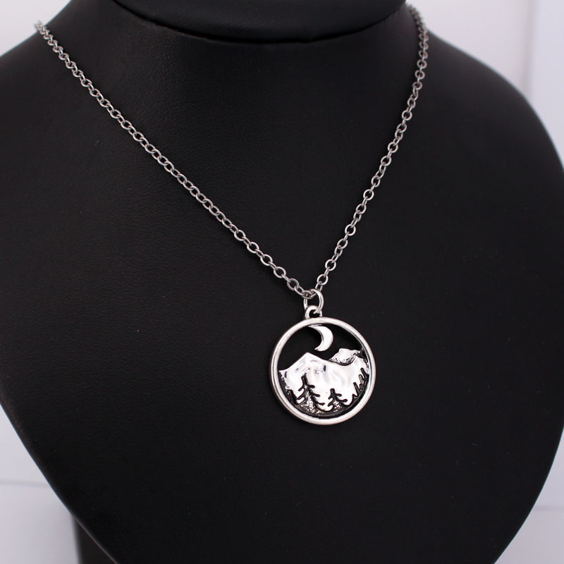 hzew tree night moon mountains landscape pendant necklace gift in Chain Necklaces from Jewelry Accessories