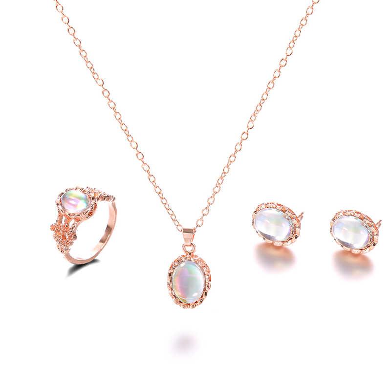 Conjuntos de joyas de moda collar de Color dorado pendientes anillo boda colorido cristal joyería de moda de mujer conjunto
