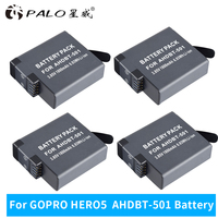 PALO 4pcs 1800mAh Batteries for GoPro Hero 5 Gopro 6 Action Camera Battery AHDBT 501 digital battery ahdbt 501 battery