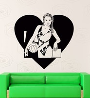 Wall Stickers Vinyl Decal I Love Volleyball Sport Decor With Girl Teen