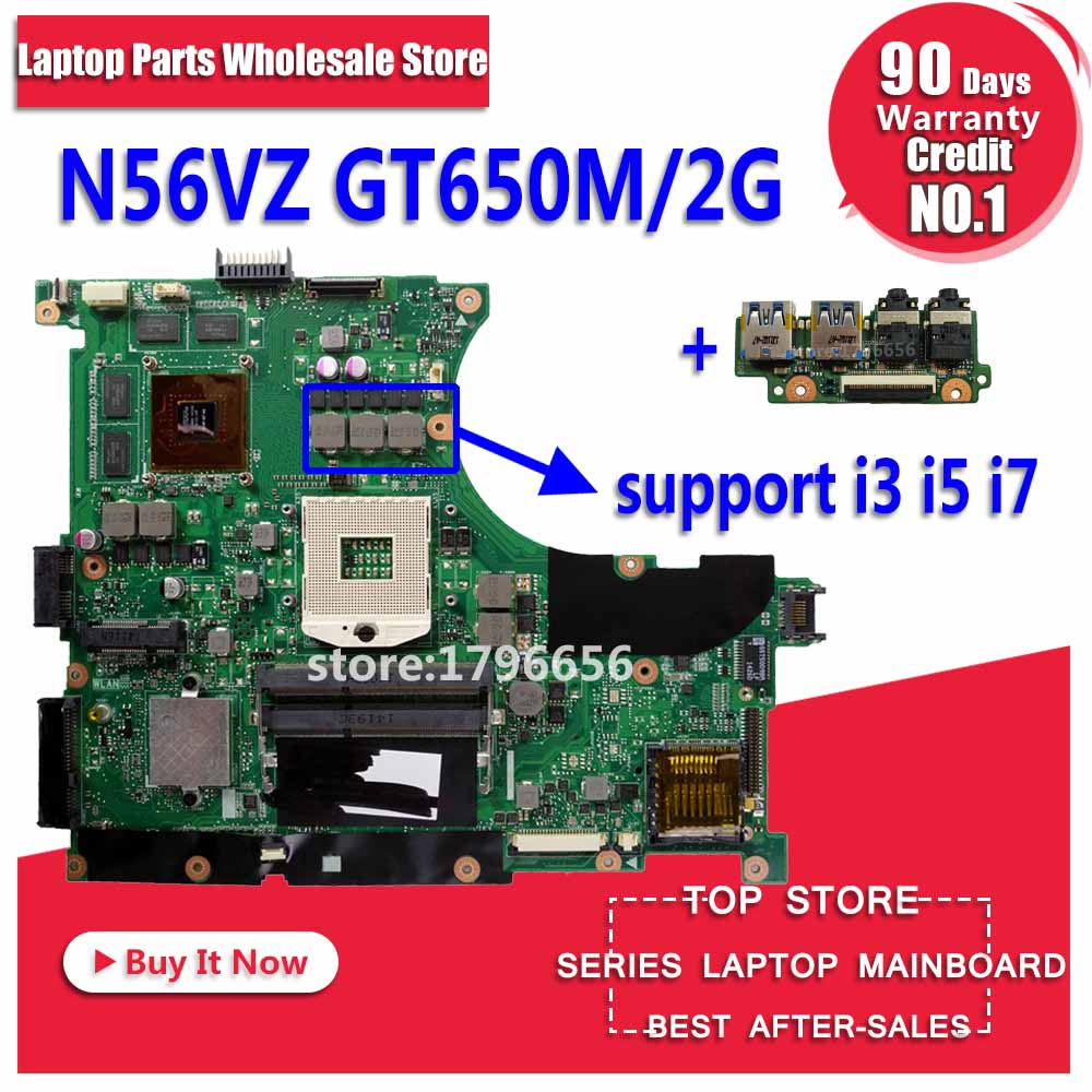 Новый USB baord + N56VM материнских плат Rev 2,3 GT650M 2 ГБ для ASUS N56VM N56VJ N56V N56VZ N56VB N56VV N56VM материнская плата для ноутбука Mainboad