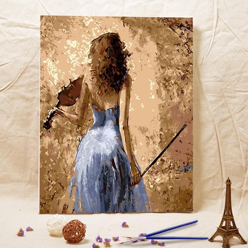 Bezrámová kutilská olejomalba Žena hrající na violoncellové akrylové barvy nástěnné malířské věže z digitálních jedinečných dárků pro domácí dekorace