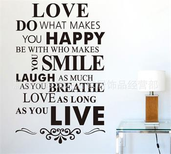 Removable Black White Words Love Smile English Words Wall