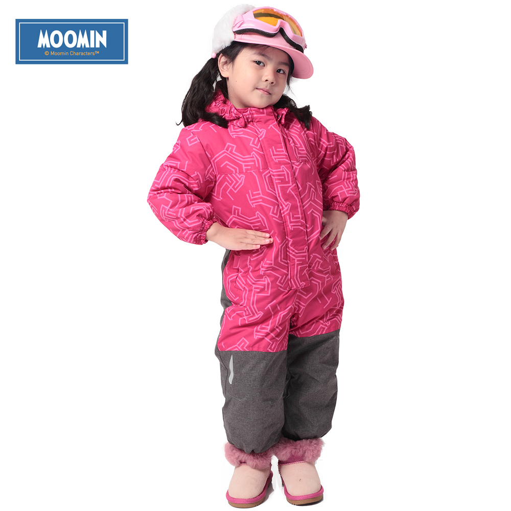 Winter Hooded Romper 2015 New Moomin brand Polyester Single Breasted Thick windproof Coverall pink girls thick