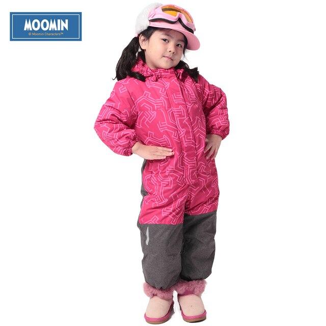 Зимний комбинезон с капюшоном новинка 2015 Муми бренд полиэстер Однобортный толстые ветрозащитный Комбинезон розовый для девочек толстый хлопок Комбинезоны для малышек