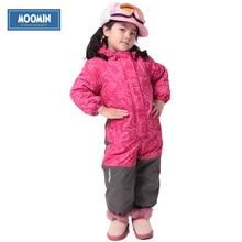 Hiver À Capuchon Barboteuse 2015 Nouveau Moomin marque Polyester Unique Poitrine Épaisse coupe-vent Combinaison rose filles épais coton Barboteuses