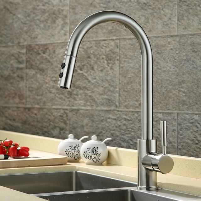 Kran Dapur Percikan Tembaga Ditarik Rotary Panas Dan Dingin Jenis Tarik Hidangan Cuci Rumah Tangga Sink