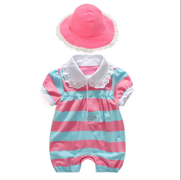 0-24 months Summer baby girl clothes leopard rompers + hat 2 pieces baby girls clothing set