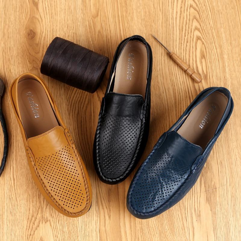 HTB1LWQULAvoK1RjSZFwq6AiCFXaU Italian Mens Shoes Casual Luxury Brand Summer Men Loafers Genuine Leather Moccasins Light Breathable Slip on Boat Shoes JKPUDUN