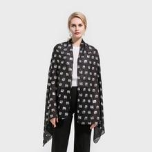 Winfox New Fashion Shiny Black Elephant Animal Print Foil Sliver Glitter Scarves Hijab Scarf Echarpe Femme